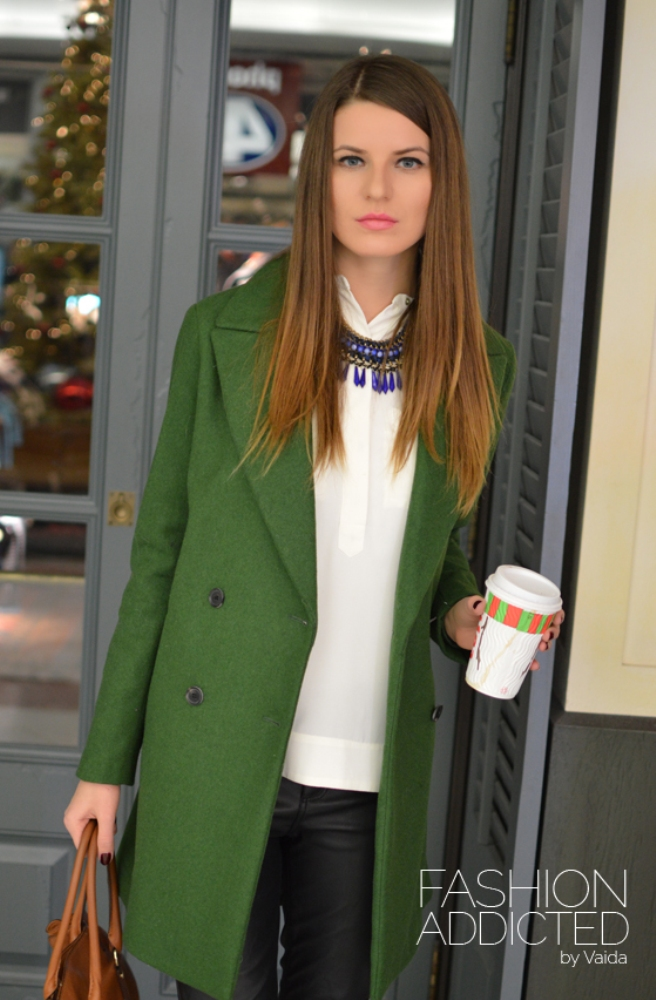 Zara double breasted wool coat green fashion addicted