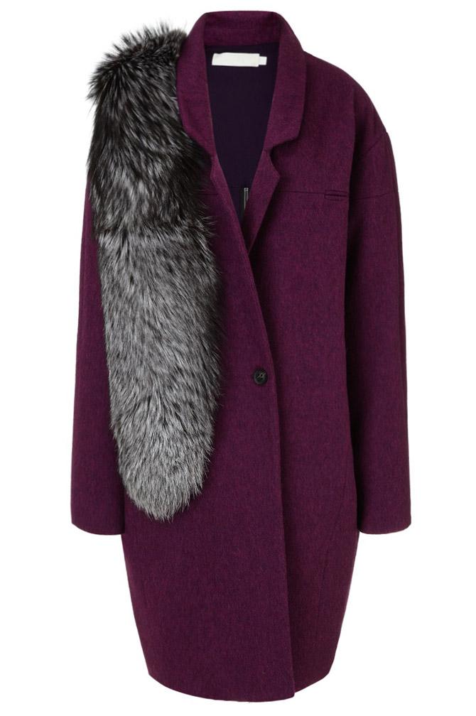 Kaelen Purple Wool Back Zip Coat