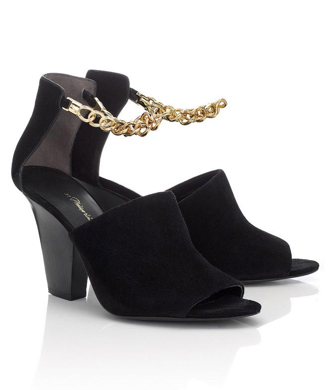 Phillip Lim Black Suede Chain Berlin Sandals