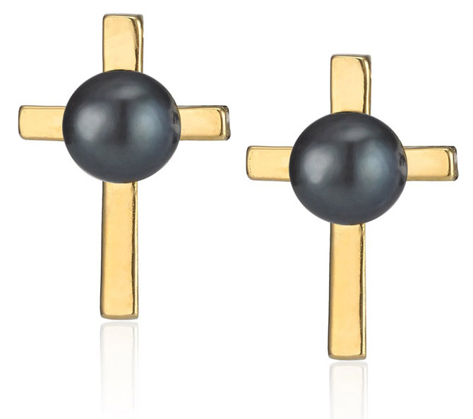 Smith-Grey Gold Black Pearl Holy Studs