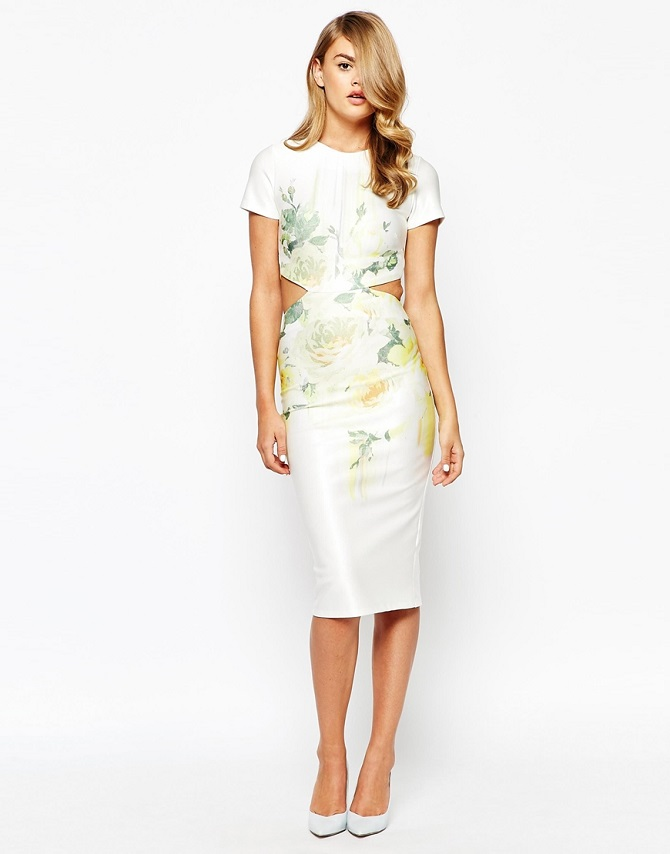 True Violet Open Back Midi Pencil Dress In Overscale Floral Print