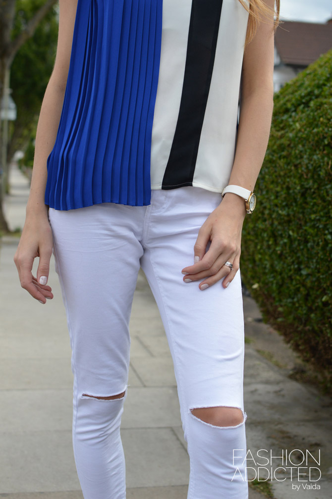Colour-Block-Pleated-Shell-top