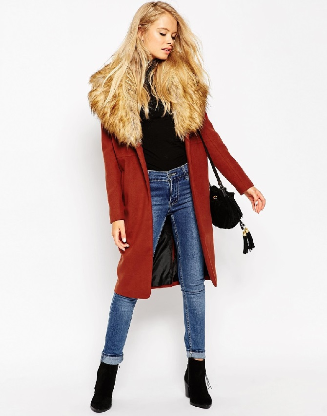 ASOS PETITE Coat in Oversized Fit with Faux Fur Collar