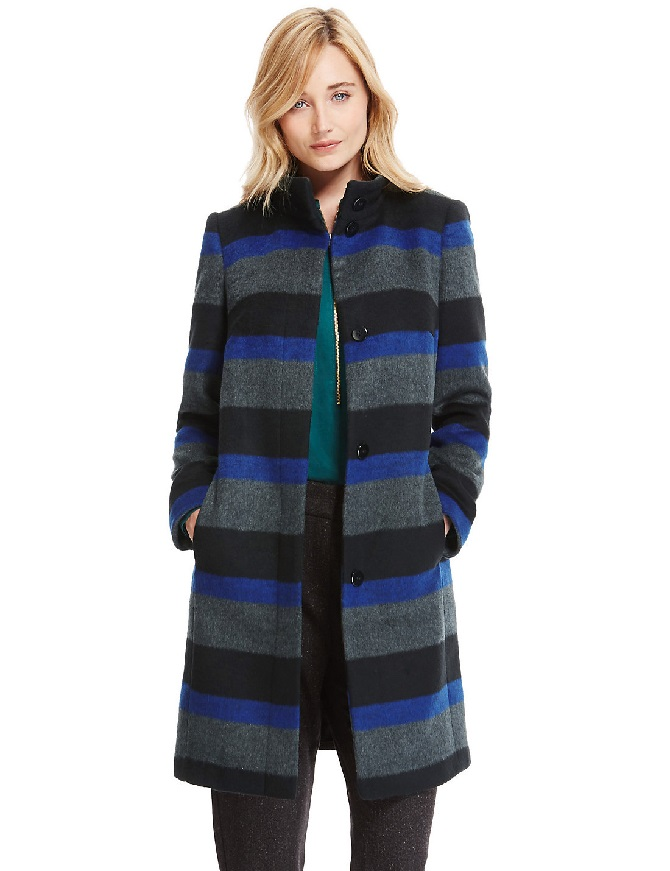 Funnel Neck Striped Overcoat with Wool