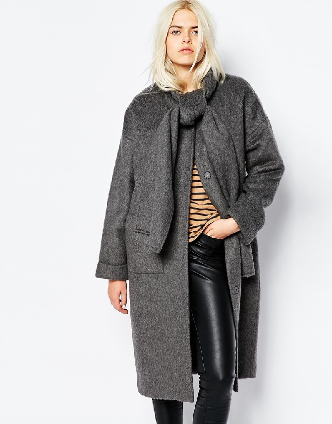 Monki Collarless Coat with Tie Neck Detail