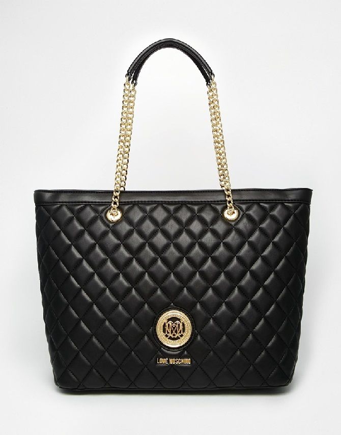 Love Moschino Quilted Tote Bag in Black
