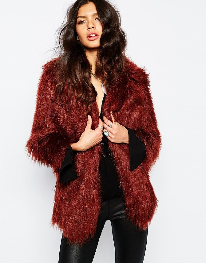 River Island Moss Faux Fur Coat