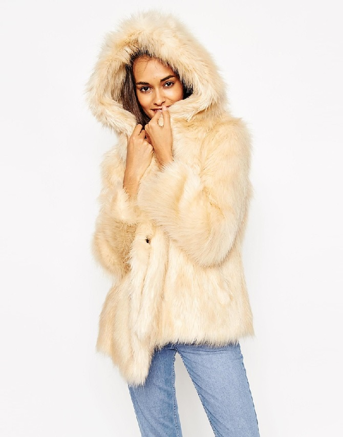 ASOS Coat with Oversized Hood in Vintage Faux Fur