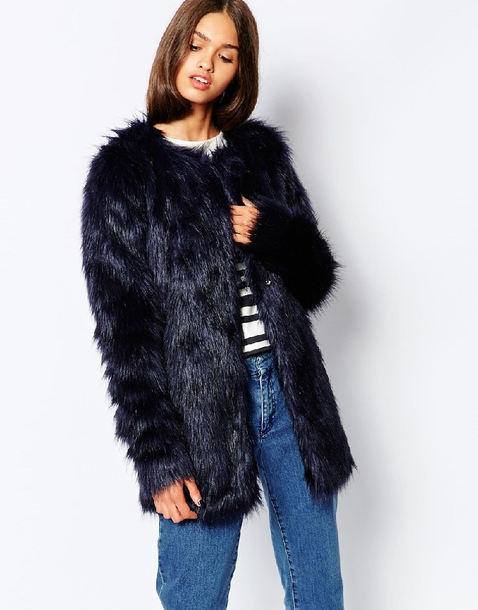 Black faux fur longline coat