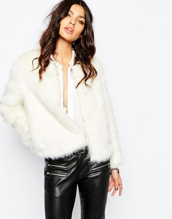 Mango Winter White Faux Fur 70'S Glam Coat