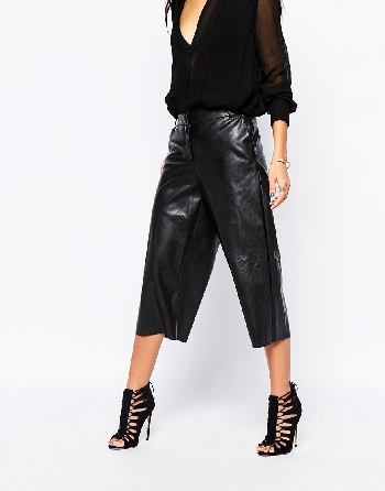 River Island Faux Leather Wide Leg Culotte