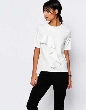 ASOS The Ponte Top With Ruffle Detail