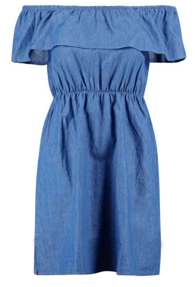 Boohoo-HAYLEY-BARDOT-FRILL-DENIM-DRESS