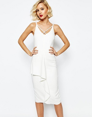 Lavish Alice Deep Plunge Strap & Frill Detail Midi Dress