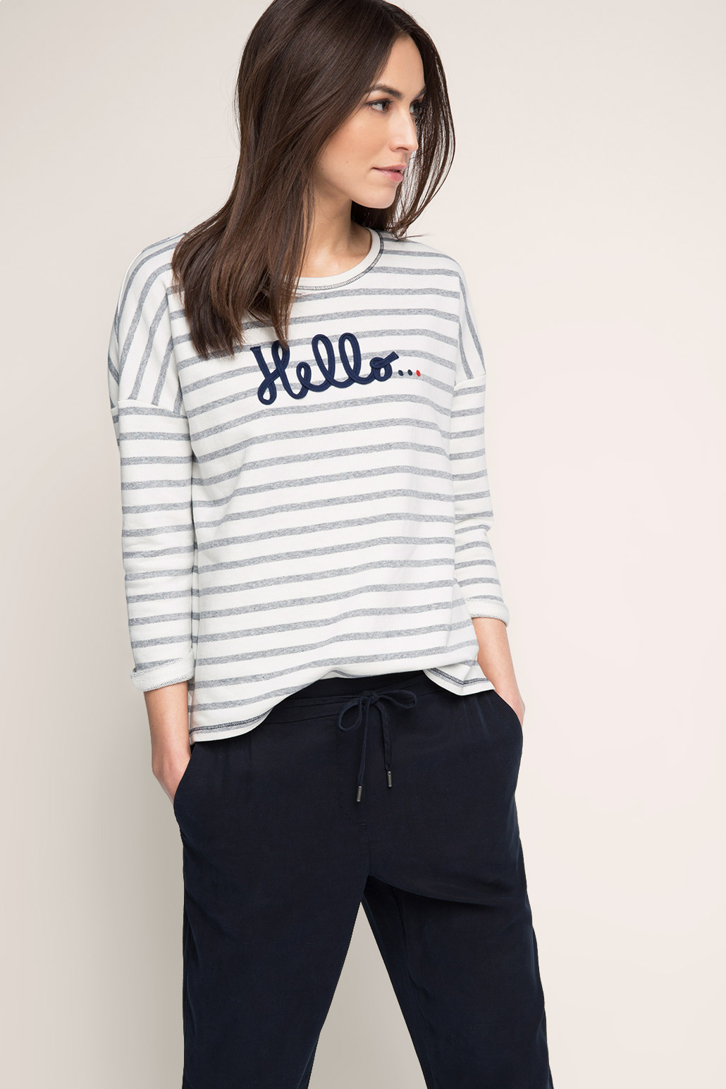 Esprit-Striped-sweatshirt-in-cotton