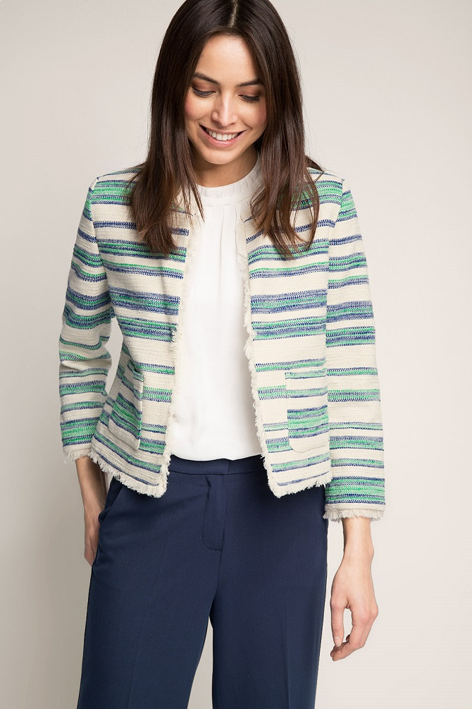 Esprit-Striped-textured-blended-cotton-blazer