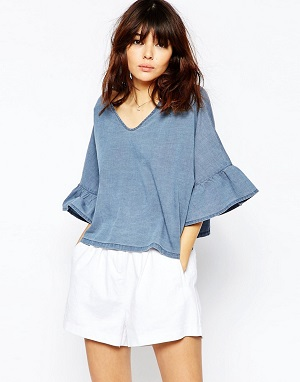 ASOS Denim Frill Sleeve Angel Top