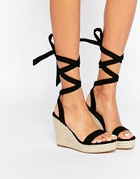 ASOS TALENT Tie Leg Wedge Sandals