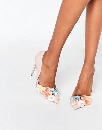 Miss KG Caela Floral Embellished Heeled Court Shoes