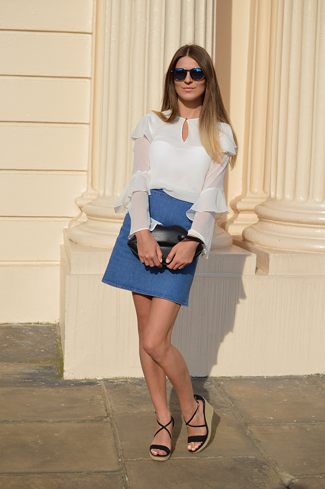 hm-wide-sleeve-top-asos-denim-mini-skirt