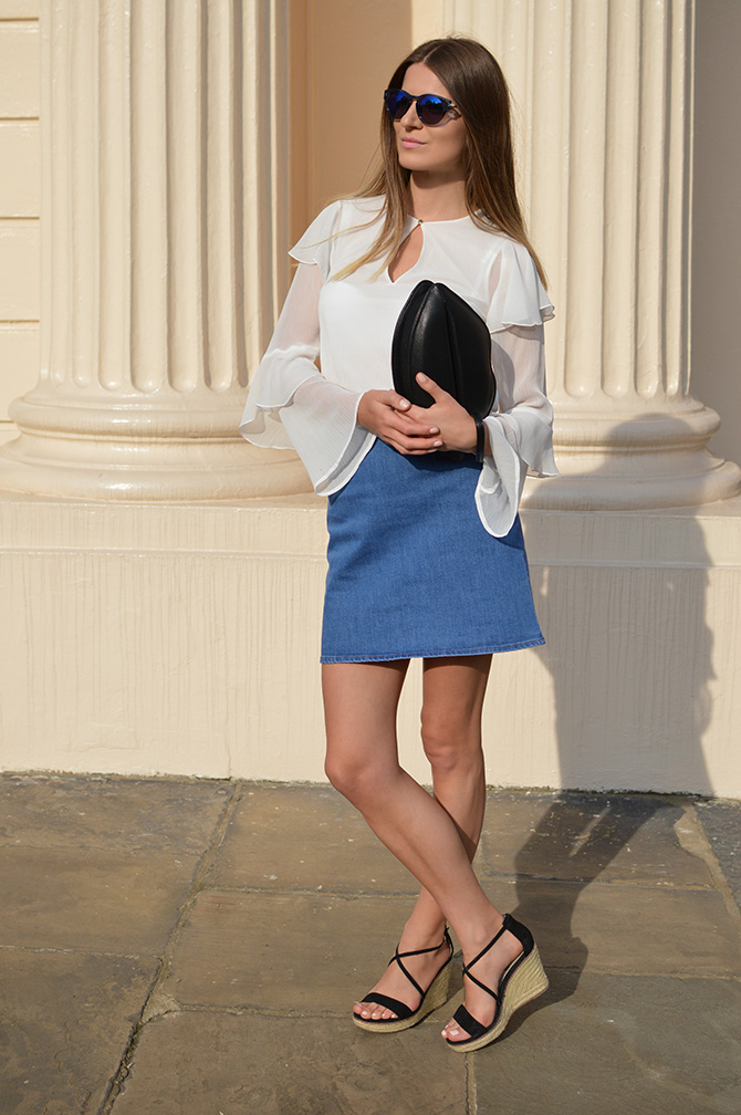 hm-wide-sleeve-top-asos-denim-skirt-lips-bag