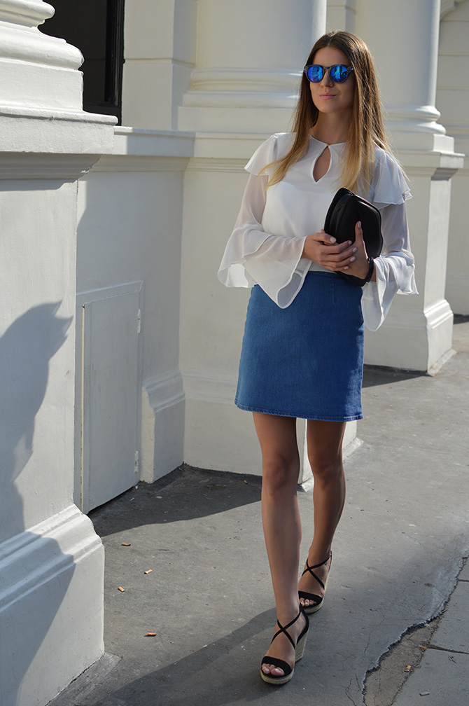 hm-wide-sleeve-top-asos-denim-skirt