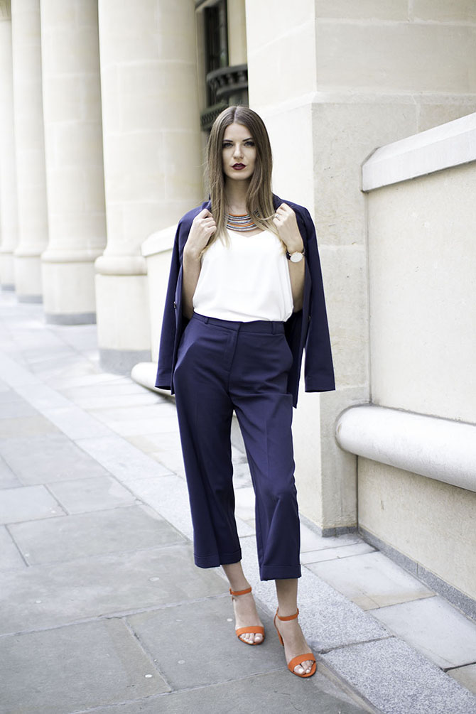 navy-suit-culottes-orange-sandals-fashion-blogger-london