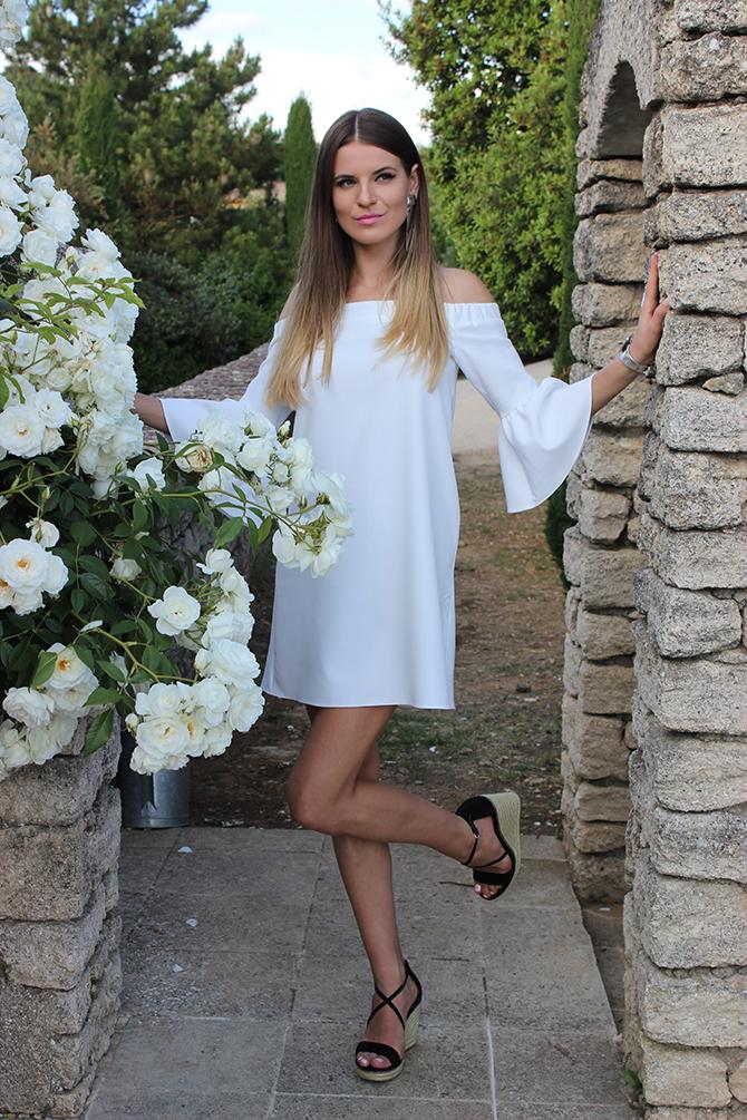 asos-off-shoulder-dress-white-wedge-sandals