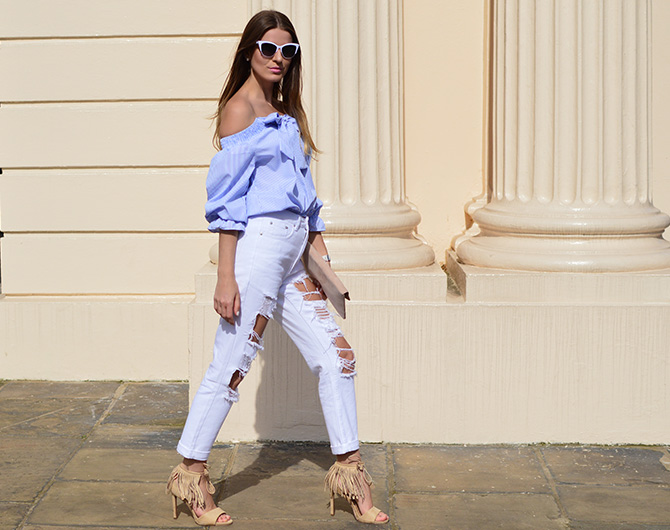 lasula-mom-ripped-jeans-off-shoulder-top-striped-blue-tassel-heels-2