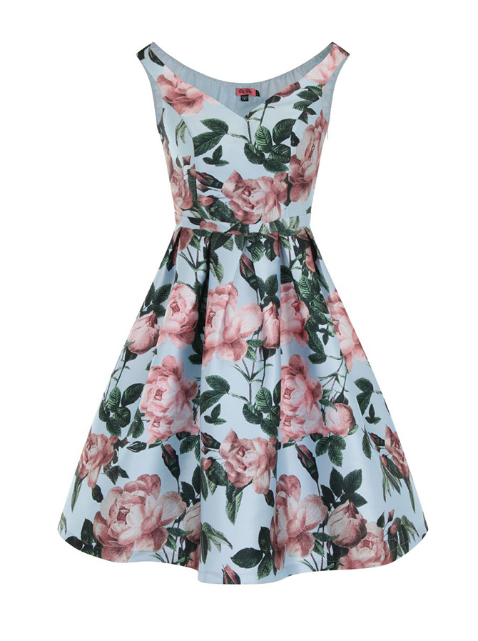 Chi-Chi-London-Floral-Print-Bardot-Midi-Dress