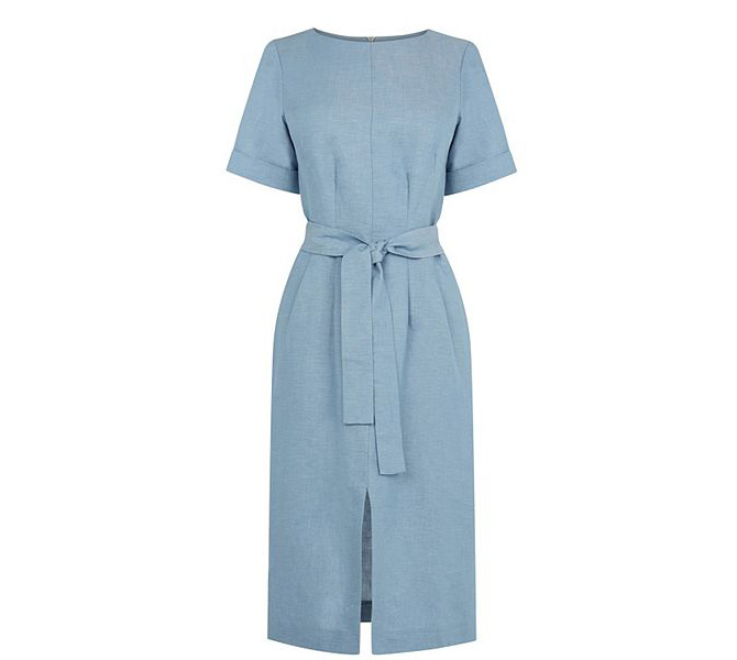 Warehouse-Linen-Mix-Belted-Dress