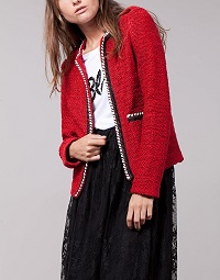 stradivarius-boucle-jacket-red