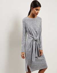 Grey Tie Front Dress