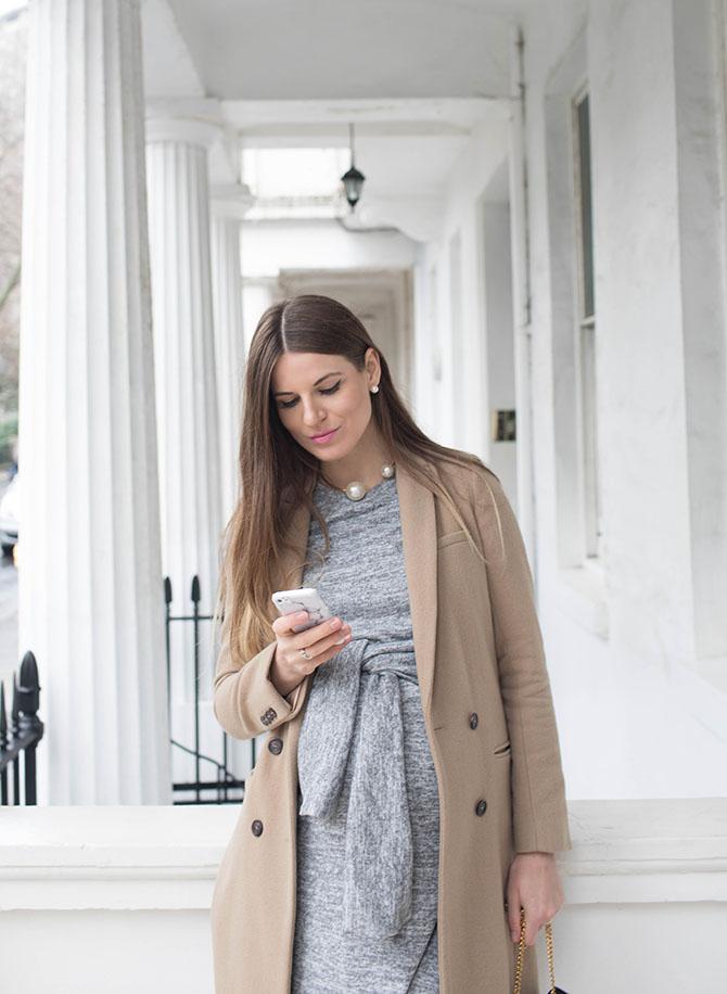 grey-tie-front-dress