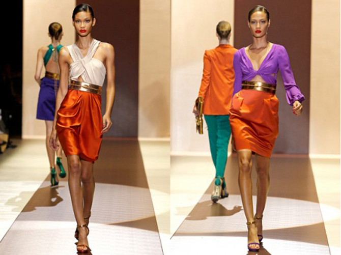 gucci catwalk colour blocking