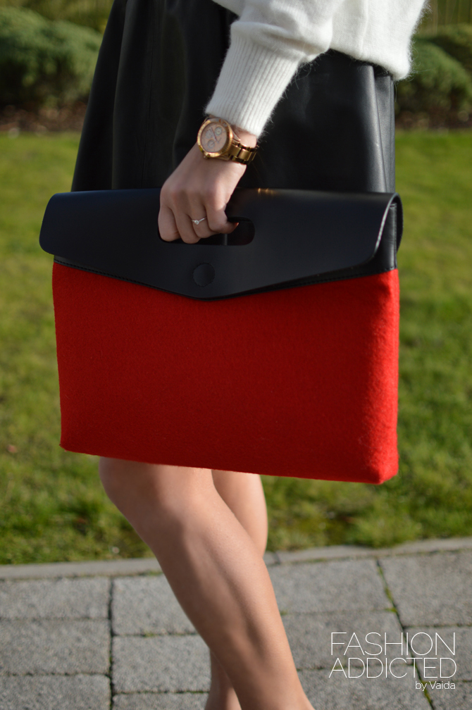 red leather asos clutch