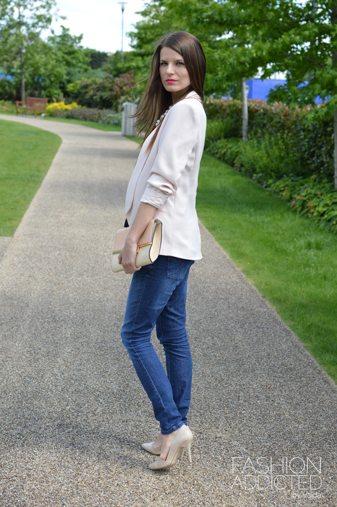 Light Pink Crepe Oversized Blazer