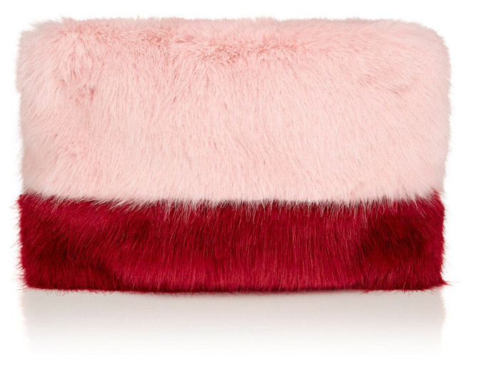Shrimps Pink Faux Fur Pablo Clutch