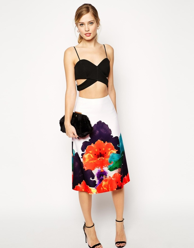 ASOS Aline Skirt with Border Print