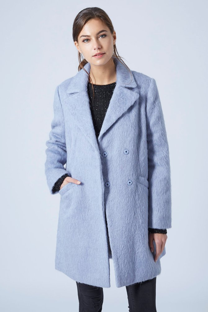 FLUFFY WOOL BLEND SWING COAT