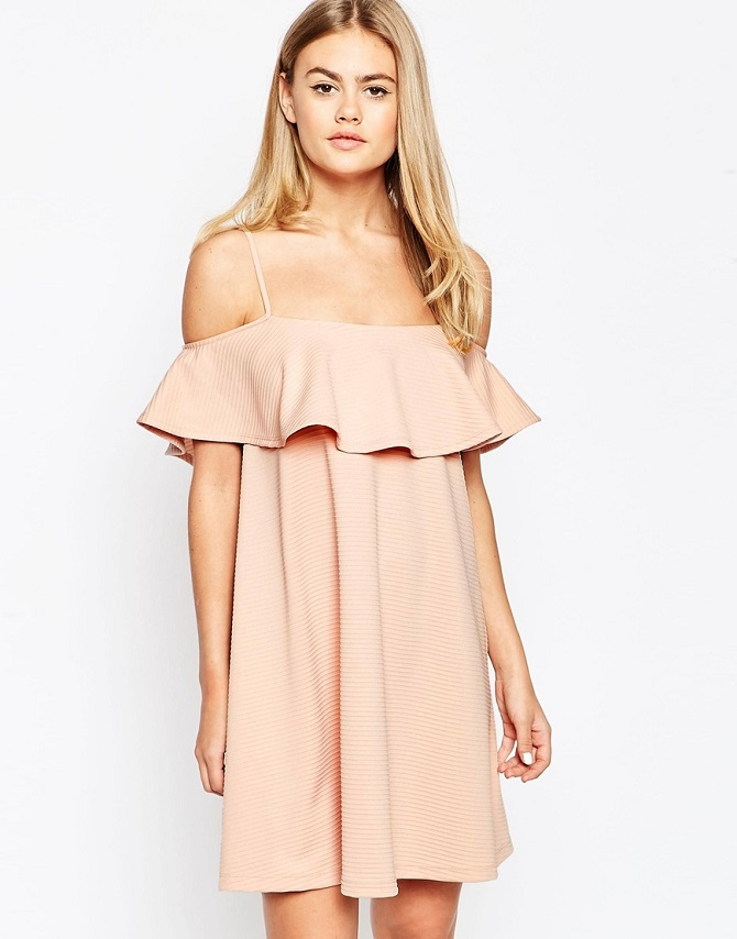 ASOS Swing Dress with Cold Shoulder and Ruffle Detail