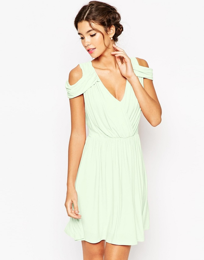 ASOS WEDDING Drape Cold Shoulder Mini Dress