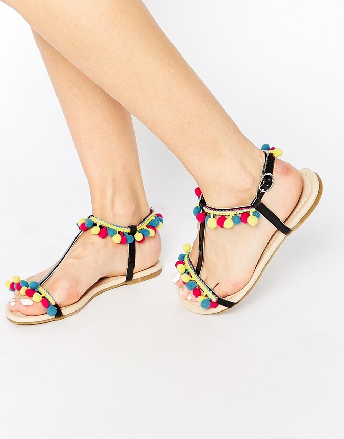 ASOS FACTORY Pom Pom Flat Sandals