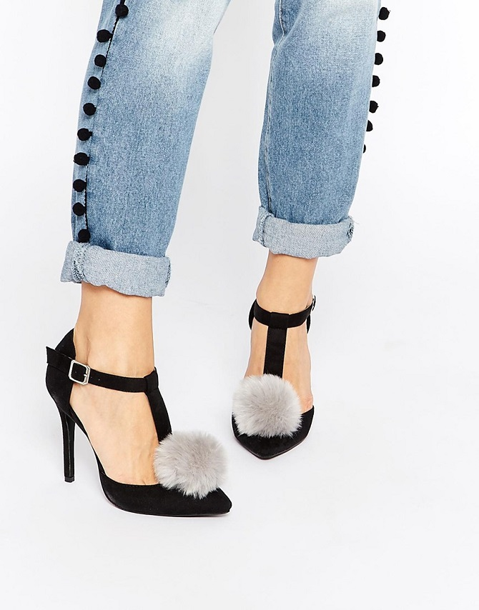 Daisy Street Black T-Bar Pom Pom Heeled Shoes