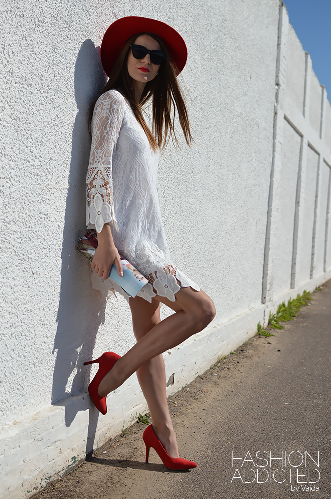 boohoo-white-lace-dress-and-catarzi-red-hat-1