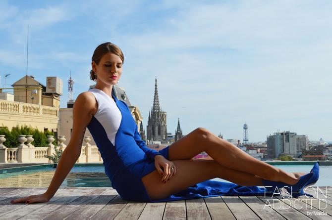 Fabryan Asymmetry blue White Dress