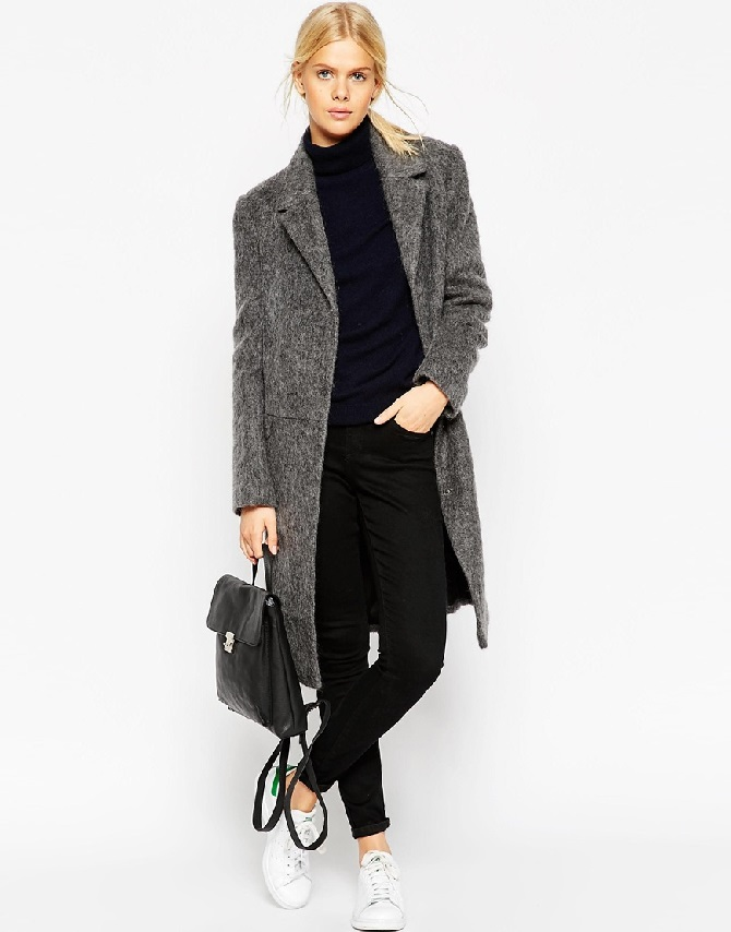 ASOS TALL Coat With Seam Detail In Hairy Wool