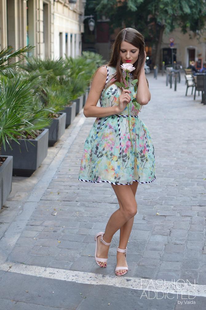 asos green floral dress