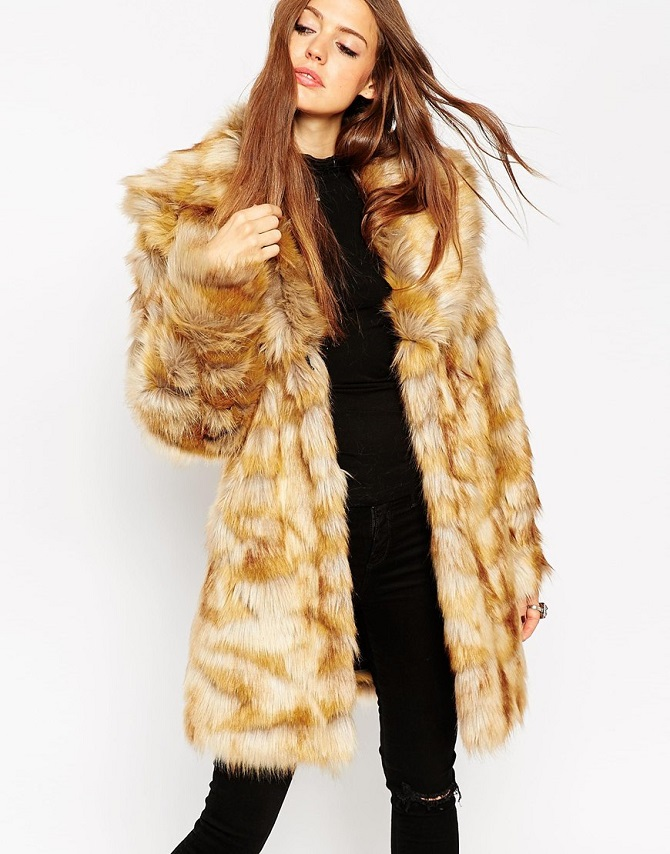 ASOS Coat in Pelted Vintage Faux Fur & Shawl Collar