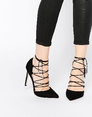 ASOS PROP Lace Up Pointed High Heels